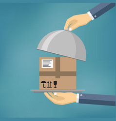 Hand holding package on the cloche vector