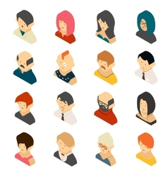 Isometric colored user icon designs vector