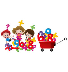 Kids and numbers in red wagon vector