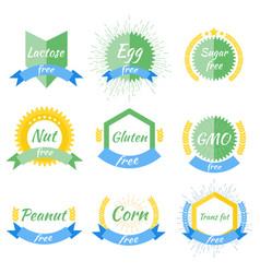 lactose gmo gluten trans fat corn peanut nut vector image