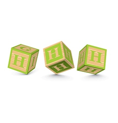 Letter h wooden alphabet blocks vector