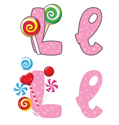 letter L lollipops vector image vector image