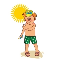 Little cartoon man applies sunscreen on his skin vector image vector image