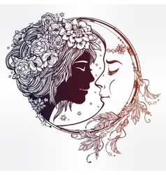 Magic night fairy with a moon vector