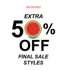 Sale poster with watermelon vector