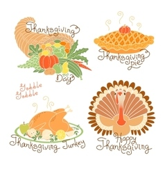 Set of color drawings to Thanksgiving Day Autumn vector image