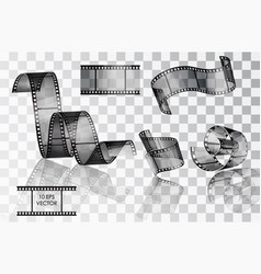 set of curved photographic film film vector image