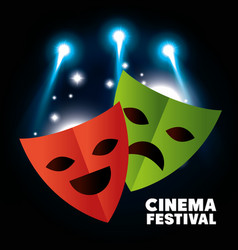 theater masks festival cinema vector image vector image