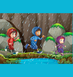 three kids in the rain vector image