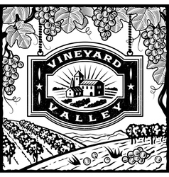 Vineyard Valley black and white vector image vector image