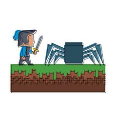Warrior in scenery game item vector