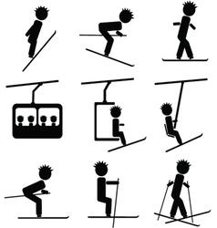 winter ski icon vector image