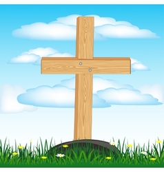 Wooden cross on grave vector