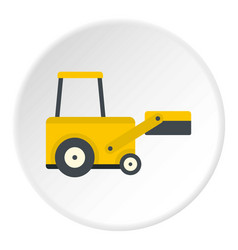 yellow truck to lift cargo icon circle vector image