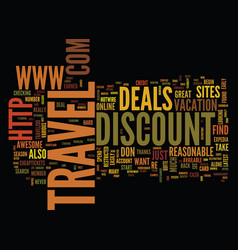 You too can find the best discount travel deals vector