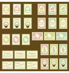 Happy easter postage retro set vector