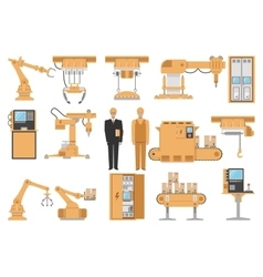 Automated assembly decorative icons set vector