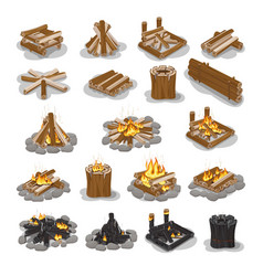 Campfire and firewood stages set isolated on white vector