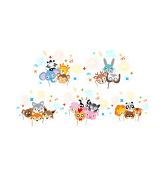 animal carnival collection of cartoon masks vector image