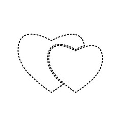 Two hearts sign black dashed icon on vector
