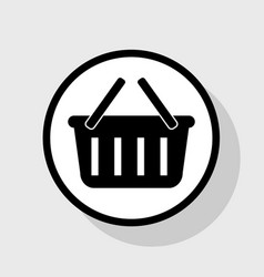 Shopping basket sign  flat black icon in vector