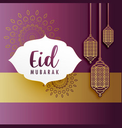 Creative eid festival greeting with hanging lamps vector
