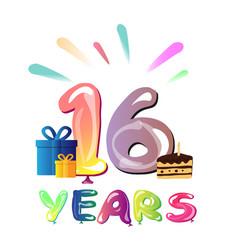 16 years birthday celebration greeting card vector