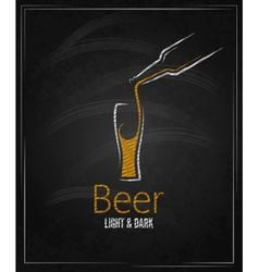Beer glass chalkboard menu background vector