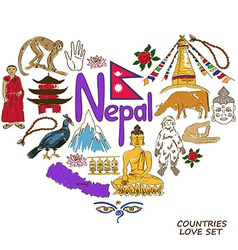 Nepal symbols in heart shape concept vector image