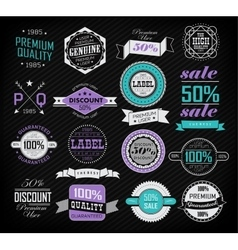 Premium quality guarantee and sale labels vector