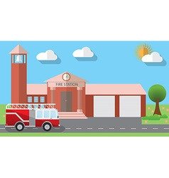 Flat design of fire station building and parked vector