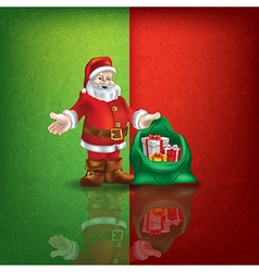 Celebration greeting with santa claus on green red vector