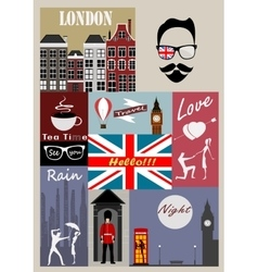 Retro style poster with London symbols vector image