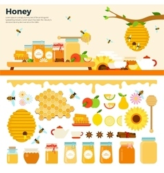Honey products on the table vector