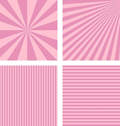 Vintage pink simple striped background set vector