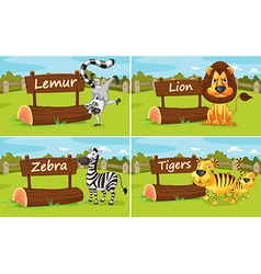 Wild animals by the wooden signs vector