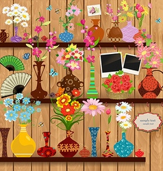 Wooden shelves with lovely flowers and photo vector