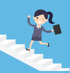 Business woman running up the stairs vector