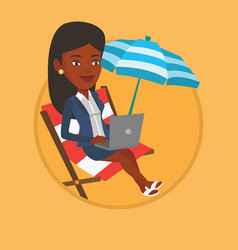 businesswoman working on laptop at the beach vector image