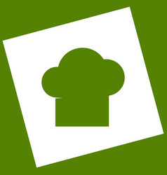 Chef cap sign white icon obtained as a vector