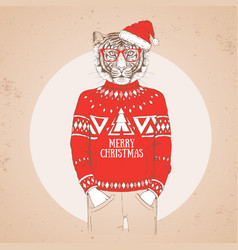christmas hipster fashion animal tiger vector image vector image