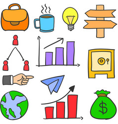 Doodle of object business colorful vector