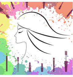 face of beautiful girl makeup artist logo vector image