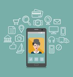 Female app icon on vector
