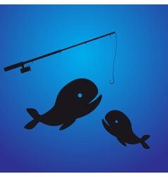 fishing - two fish eps10 vector image vector image