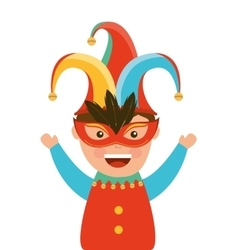Funny fool jester character icon vector