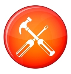 Hammer and screwdriver icon flat style vector