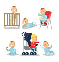 Newborn baby boy cartoons set vector