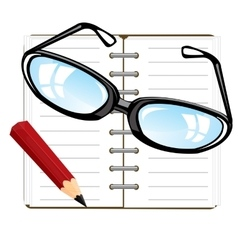 Note pad and pencil vector