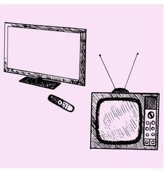 old tv and modern tv vector image